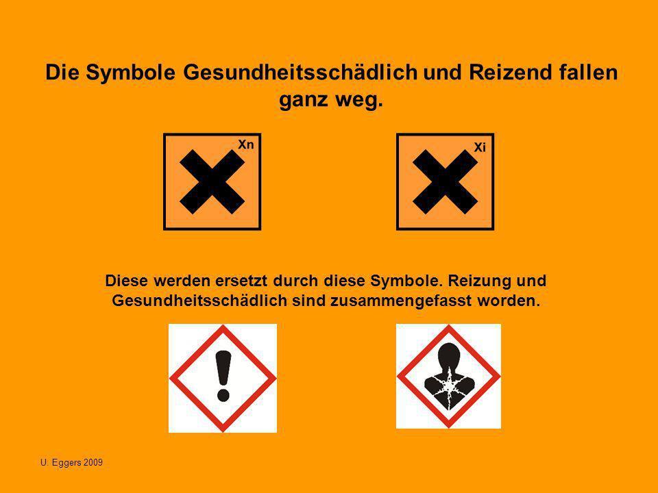 U. Eggers 2009 Die Symbole Gesundheitsschädlich und Reizend fallen ganz weg. Diese werden ersetzt durch diese Symbole. Reizung und Gesundheitsschädlic