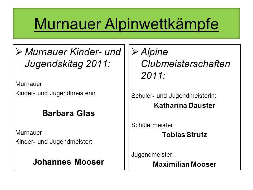 Murnauer Alpinwettkämpfe Murnauer Kinder- und Jugendskitag 2011: Murnauer Kinder- und Jugendmeisterin: Barbara Glas Murnauer Kinder- und Jugendmeister