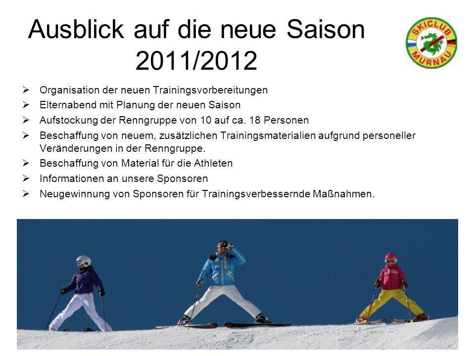 Ausblick auf die neue Saison 2011/2012 Organisation der neuen Trainingsvorbereitungen Elternabend mit Planung der neuen Saison Aufstockung der Renngruppe von 10 auf ca.