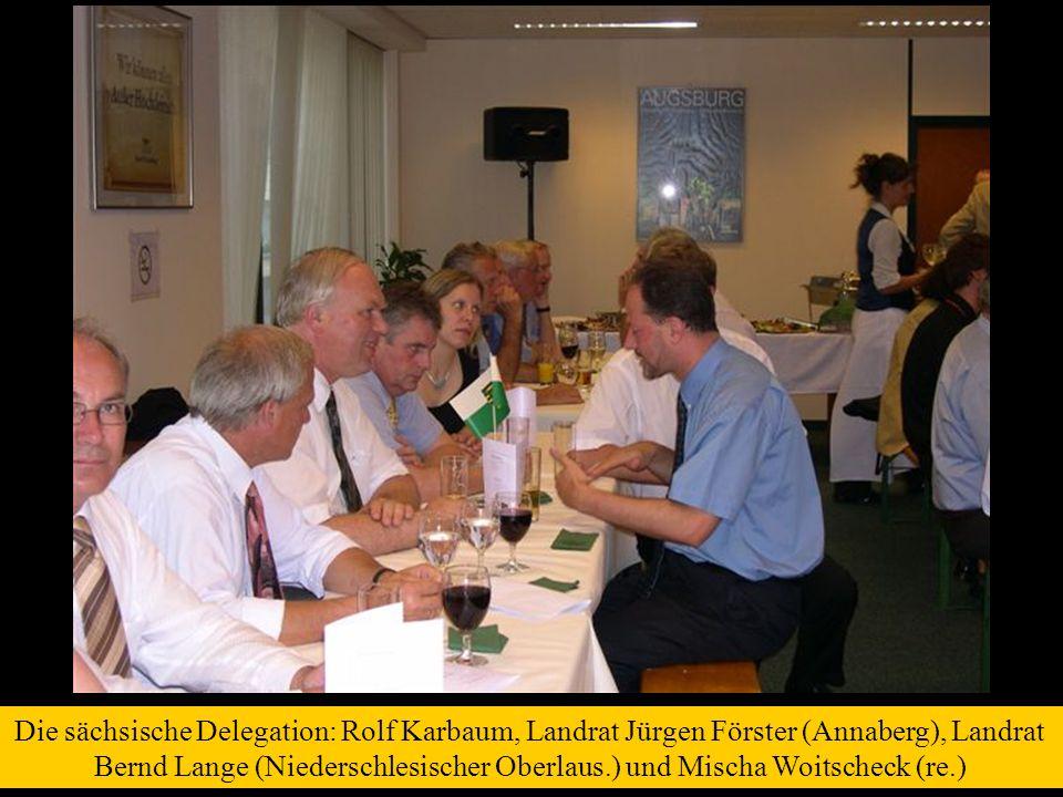 Die sächsische Delegation: Rolf Karbaum, Landrat Jürgen Förster (Annaberg), Landrat Bernd Lange (Niederschlesischer Oberlaus.) und Mischa Woitscheck (re.)