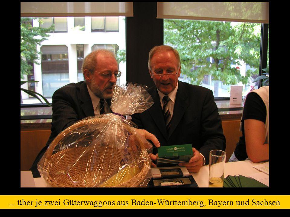 ... über je zwei Güterwaggons aus Baden-Württemberg, Bayern und Sachsen