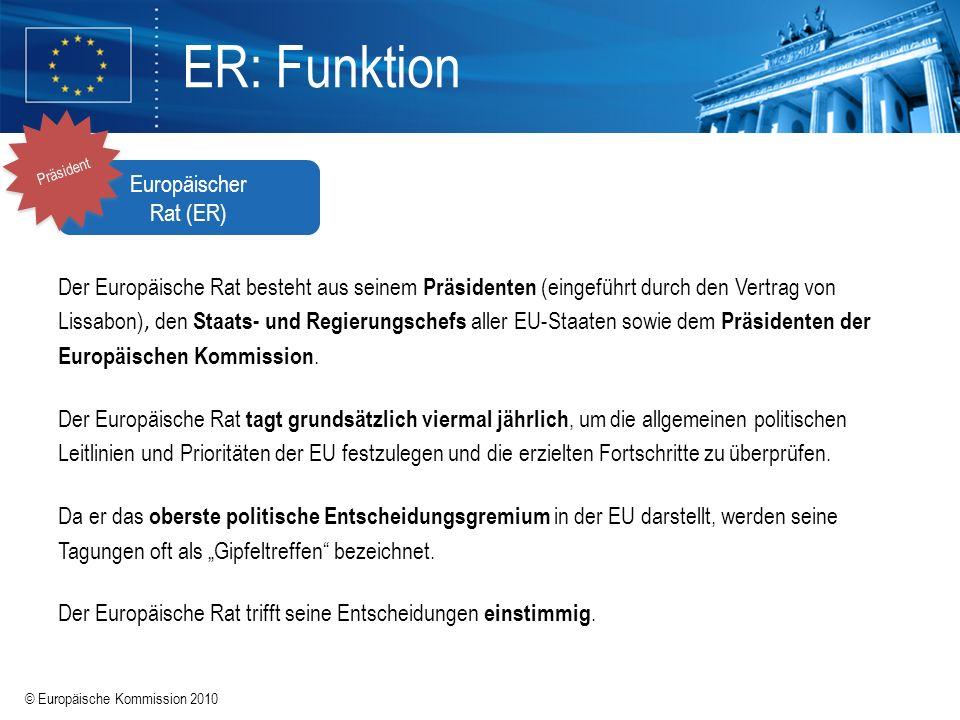 © Europäische Kommission 2010 ER: Funktion Der Europäische Rat besteht aus seinem Präsidenten (eingeführt durch den Vertrag von Lissabon), den Staats-