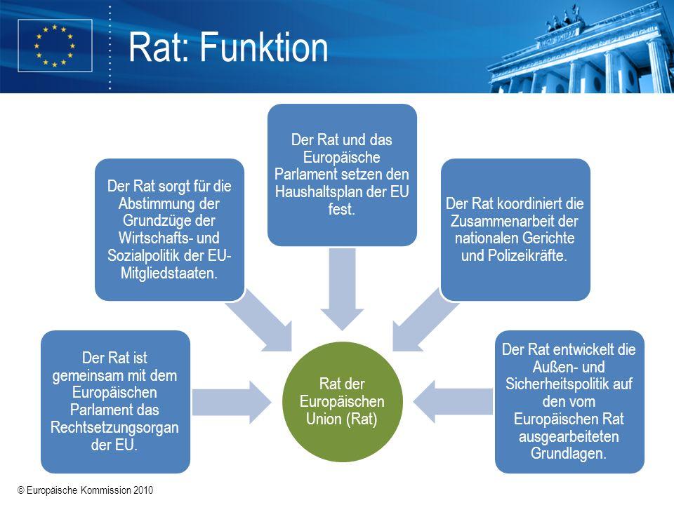 © Europäische Kommission 2010 Rat der Europäischen Union (Rat) Der Rat ist gemeinsam mit dem Europäischen Parlament das Rechtsetzungsorgan der EU. Der