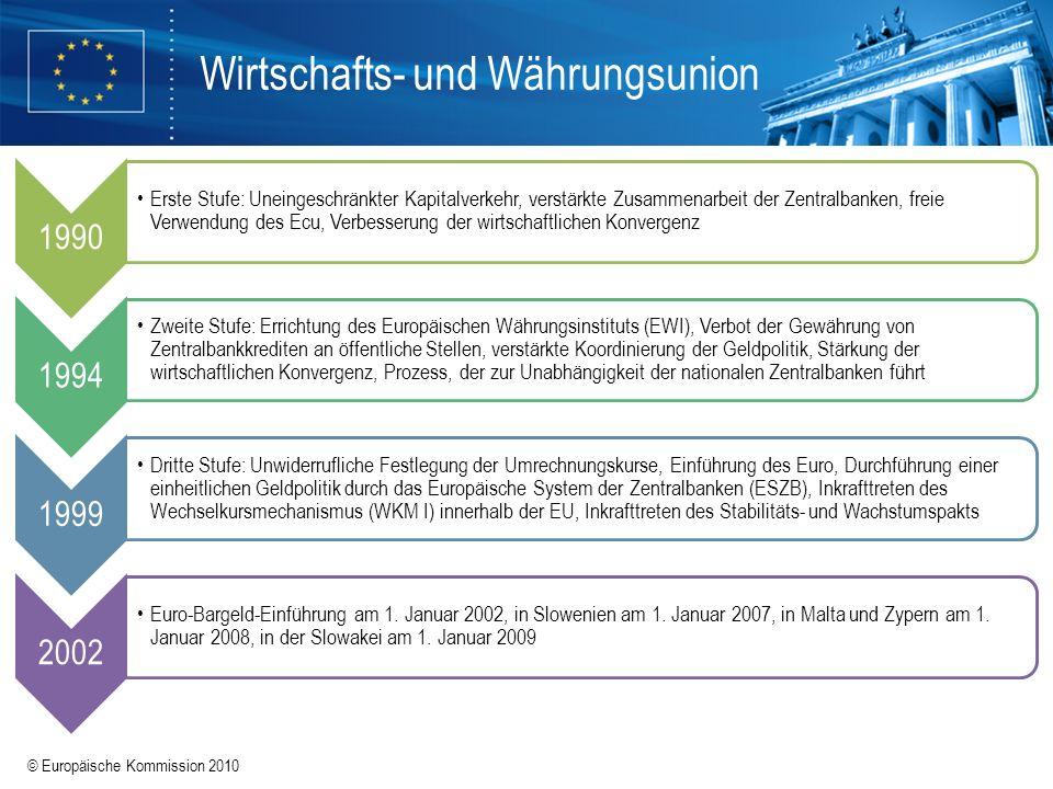 © Europäische Kommission 2010 Wirtschafts- und Währungsunion 1990 Erste Stufe: Uneingeschränkter Kapitalverkehr, verstärkte Zusammenarbeit der Zentral