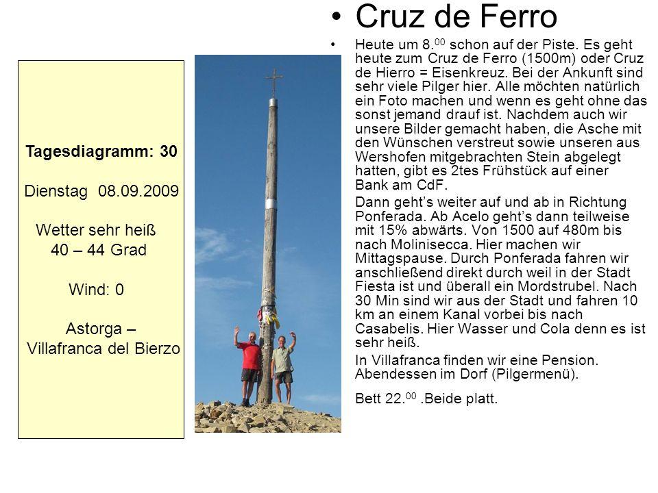 Cruz de Ferro Heute um 8. 00 schon auf der Piste. Es geht heute zum Cruz de Ferro (1500m) oder Cruz de Hierro = Eisenkreuz. Bei der Ankunft sind sehr