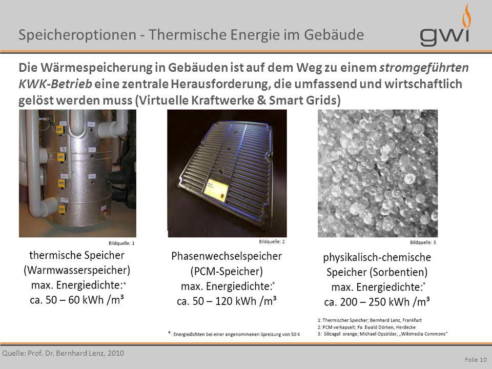 Autor Speicheroptionen - Thermische Energie im Gebäude Die Wärmespeicherung in Gebäuden ist auf dem Weg zu einem stromgeführten KWK-Betrieb eine zentr