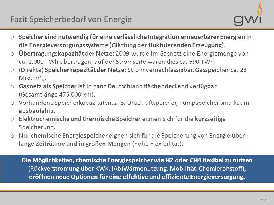 Autor Seite: 11 Fazit Speicherbedarf von Energie Folie 11 o Speicher sind notwendig für eine verlässliche Integration erneuerbarer Energien in die Ene