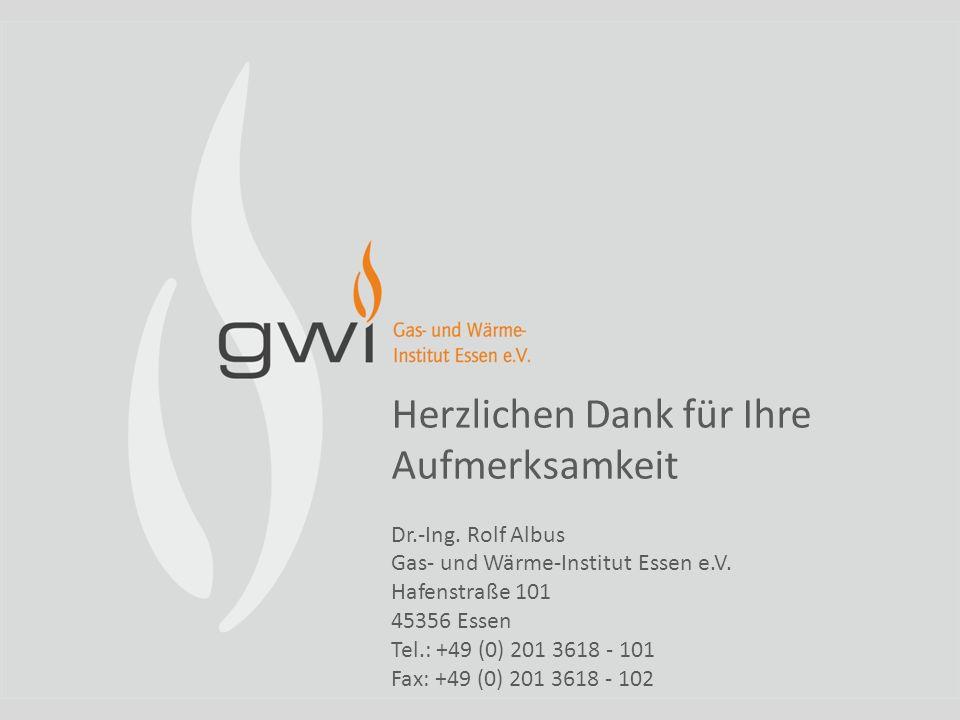 Herzlichen Dank für Ihre Aufmerksamkeit Dr.-Ing. Rolf Albus Gas- und Wärme-Institut Essen e.V. Hafenstraße 101 45356 Essen Tel.: +49 (0) 201 3618 - 10
