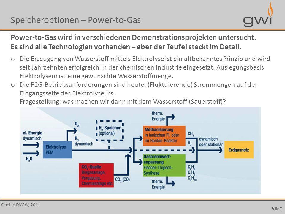 Autor Seite: 7 Folie 7 Speicheroptionen – Power-to-Gas Power-to-Gas wird in verschiedenen Demonstrationsprojekten untersucht. Es sind alle Technologie