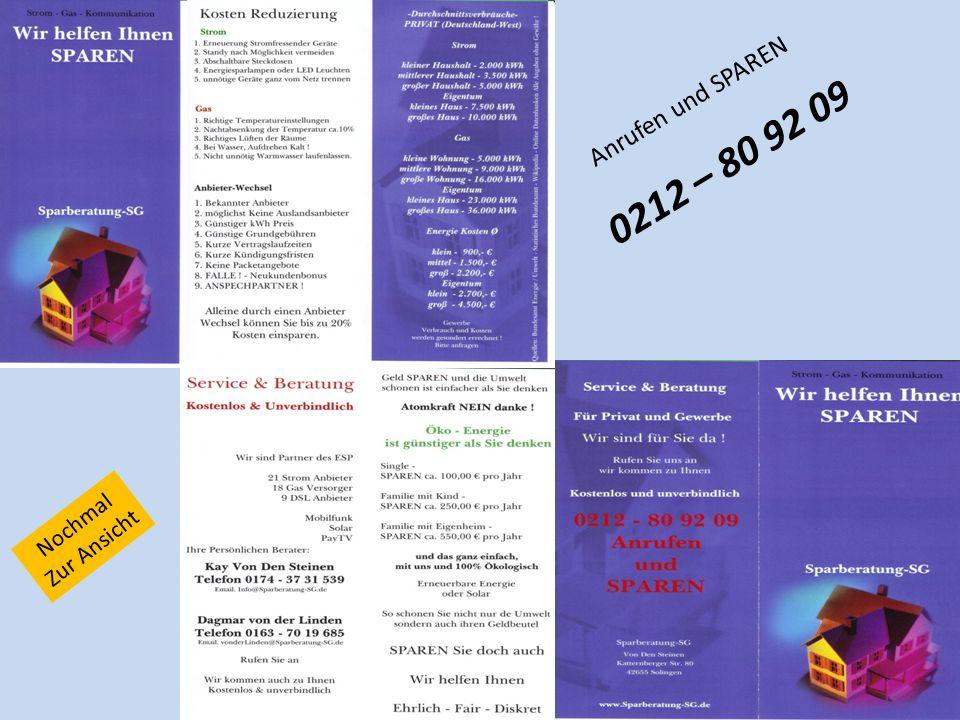 Anrufen und SPAREN 0212 – 80 92 09 Nochmal Zur Ansicht