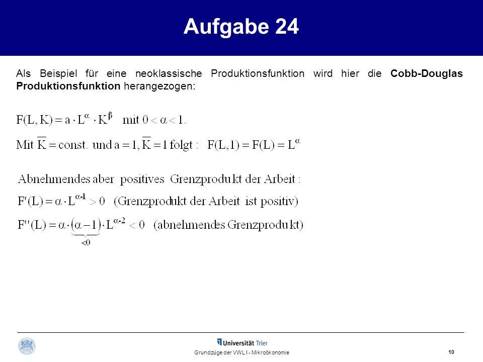 Aufgabe 24 10 Grundzüge der VWL I - Mikroökonomie Als Beispiel für eine neoklassische Produktionsfunktion wird hier die Cobb-Douglas Produktionsfunkti