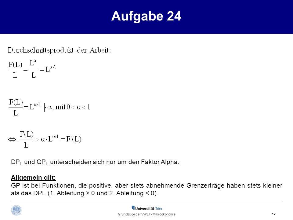 Aufgabe 24 12 Grundzüge der VWL I - Mikroökonomie DP L und GP L unterscheiden sich nur um den Faktor Alpha. Allgemein gilt: GP ist bei Funktionen, die