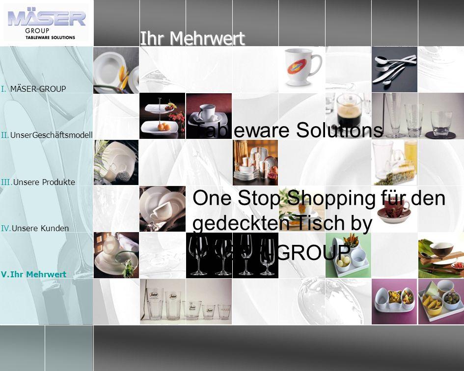 Ihr Mehrwert Tableware Solutions One Stop Shopping für den gedeckten Tisch by MÄSER-GROUP I.MÄSER-GROUP II.Unser Geschäftsmodell III.Unsere Produkte I