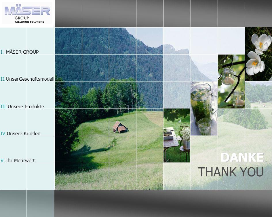 DANKE THANK YOU I.MÄSER-GROUP II.Unser Geschäftsmodell III.Unsere Produkte IV.Unsere Kunden V.Ihr Mehrwert