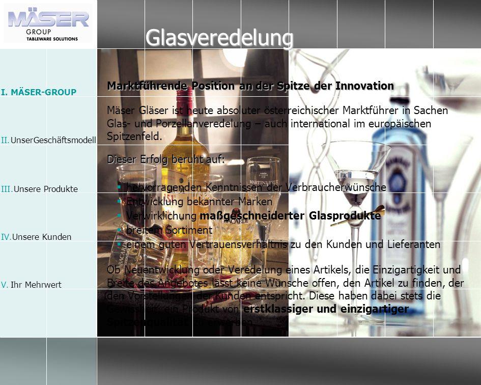 Glasveredelung Marktführende Position an der Spitze der Innovation Mäser Gläser ist heute absoluter österreichischer Marktführer in Sachen Glas- und P