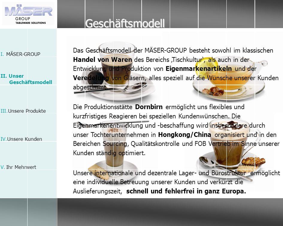 Geschäftsmodell Das Geschäftsmodell der MÄSER-GROUP besteht sowohl im klassischen Handel von Waren des Bereichs Tischkultur, als auch in der Entwicklu
