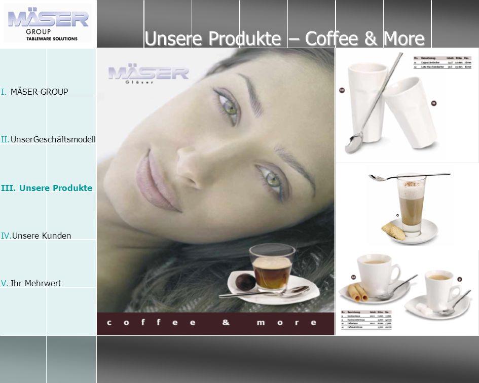 Unsere Produkte – Coffee & More I.MÄSER-GROUP II.Unser Geschäftsmodell III. Unsere Produkte IV.Unsere Kunden V.Ihr Mehrwert