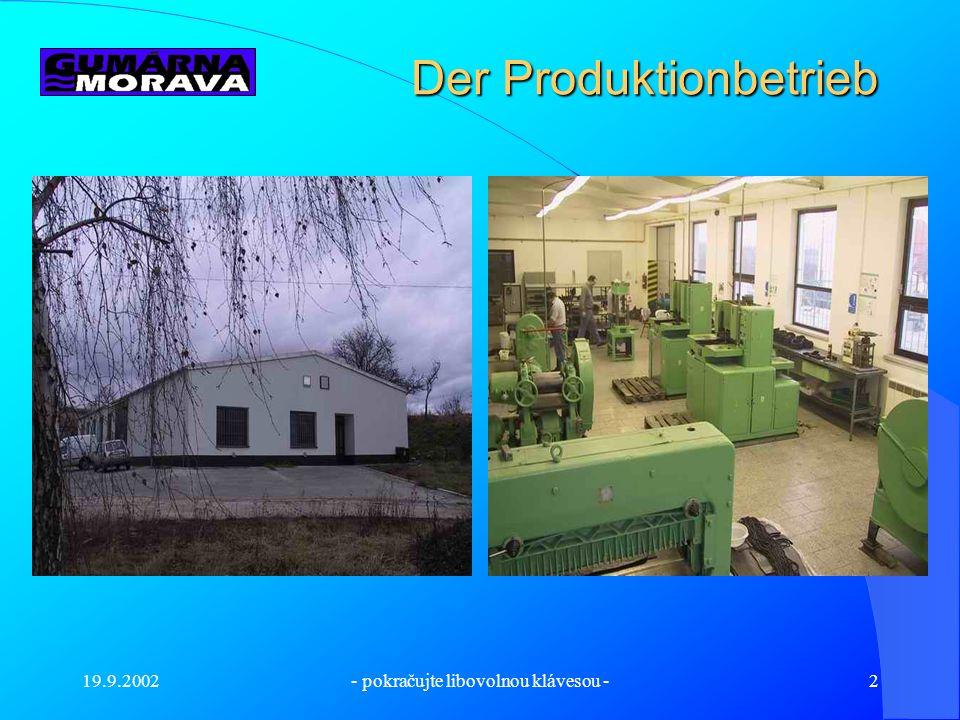 GUMÁRNA MORAVA s.r.o. Ing. Jindřich Holec Inhaber der Firma Ing. Jindřich Holec Inhaber der Firma Läβt sich für Sie die Firma vorstellen