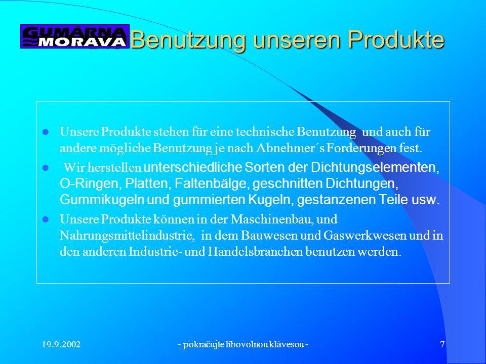 19.9.2002- pokračujte libovolnou klávesou -6 Die Produktionsvorbereitung und die Stanzerei