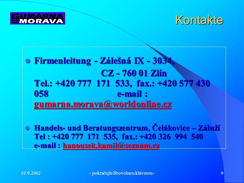 19.9.2002- pokračujte libovolnou klávesou -8 Die Prüfung und die Fertigbearbeitung der Produkte