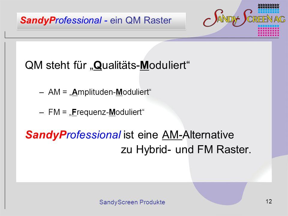 SandyScreen Produkte 12 SandyProfessional - ein QM Raster QM steht für Qualitäts-Moduliert –AM = Amplituden-Moduliert –FM = Frequenz-Moduliert SandyPr