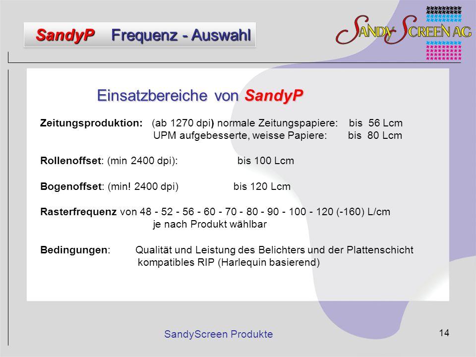 SandyScreen Produkte 14 Einsatzbereiche von SandyP Zeitungsproduktion: (ab 1270 dpi) normale Zeitungspapiere: bis 56 Lcm UPM aufgebesserte, weisse Pap