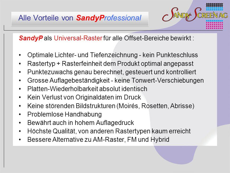Alle Vorteile von SandyProfessional SandyP als Universal-Raster für alle Offset-Bereiche bewirkt : Optimale Lichter- und Tiefenzeichnung - kein Punkte