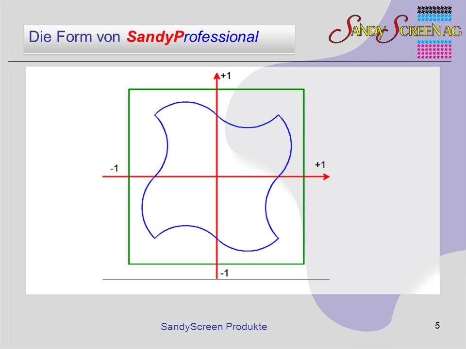 SandyScreen Produkte 5 Die Form von SandyProfessional