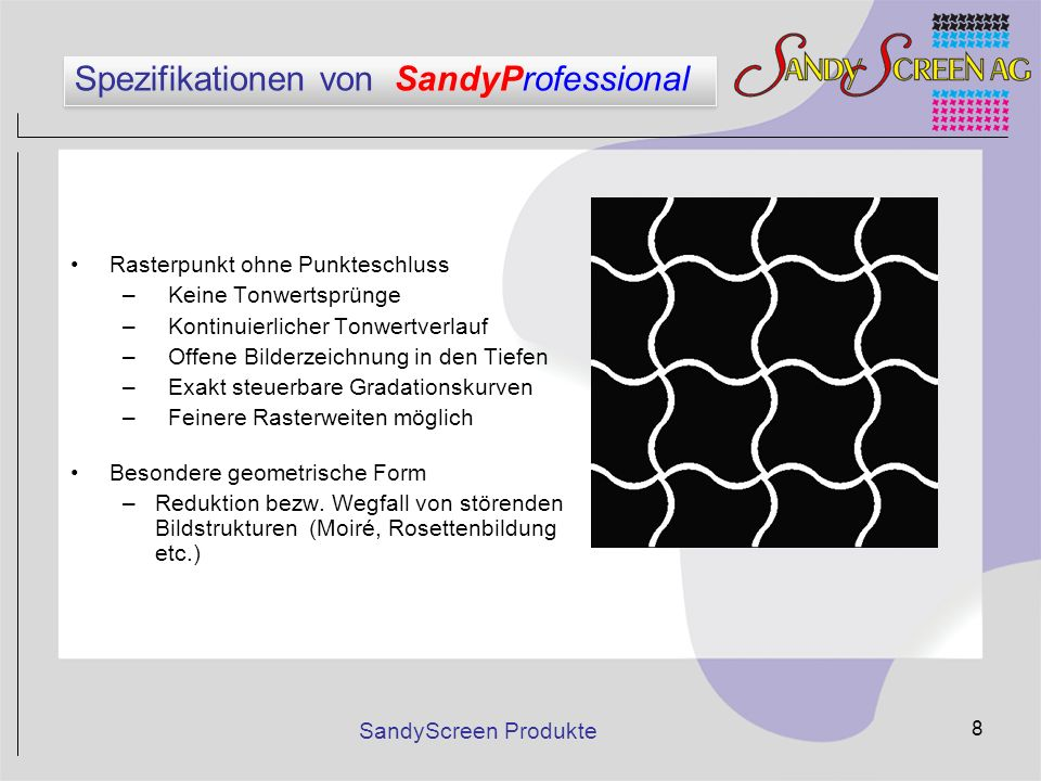 SandyScreen Produkte 8 Spezifikationen von SandyProfessional Rasterpunkt ohne Punkteschluss – Keine Tonwertsprünge – Kontinuierlicher Tonwertverlauf –