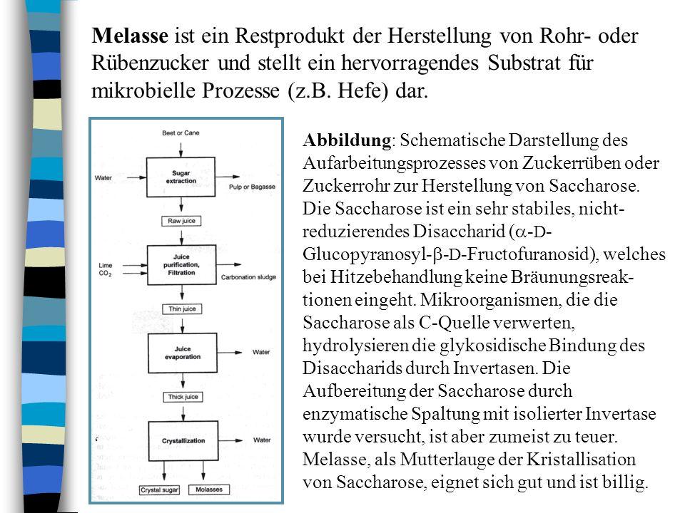 Melasse ist ein Restprodukt der Herstellung von Rohr- oder Rübenzucker und stellt ein hervorragendes Substrat für mikrobielle Prozesse (z.B. Hefe) dar