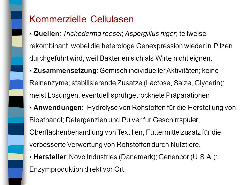 Kommerzielle Cellulasen Quellen: Trichoderma reesei; Aspergillus niger; teilweise rekombinant, wobei die heterologe Genexpression wieder in Pilzen dur
