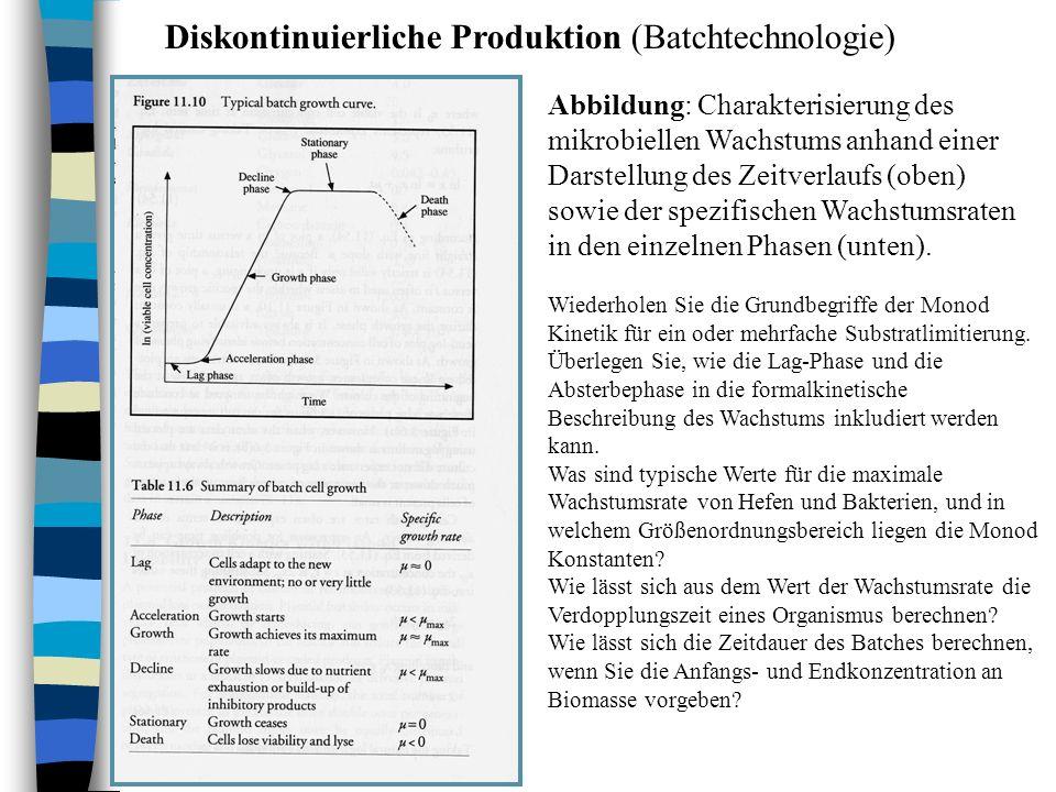 Diskontinuierliche Produktion (Batchtechnologie) Abbildung: Charakterisierung des mikrobiellen Wachstums anhand einer Darstellung des Zeitverlaufs (ob