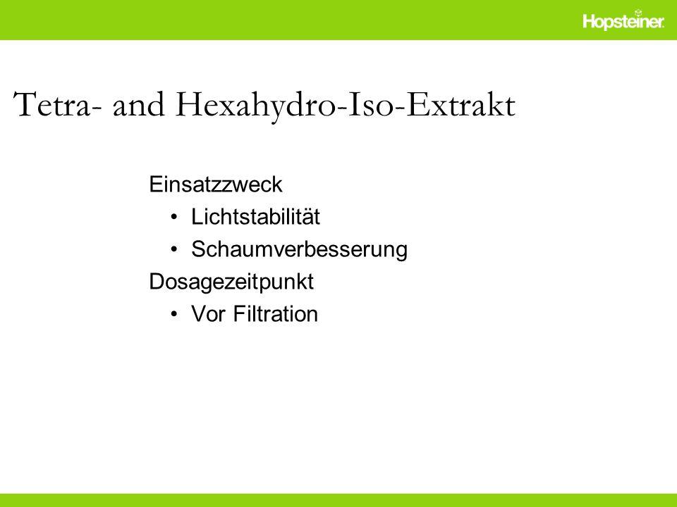 Tetra- and Hexahydro-Iso-Extrakt Einsatzzweck Lichtstabilität Schaumverbesserung Dosagezeitpunkt Vor Filtration