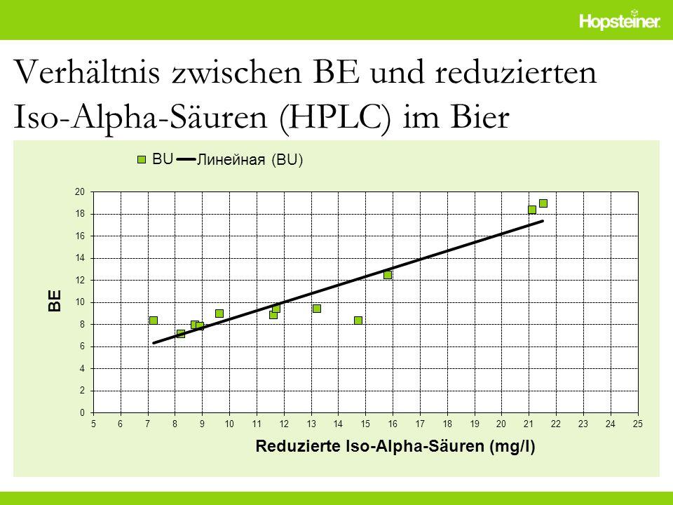 Verhältnis zwischen BE und reduzierten Iso-Alpha-Säuren (HPLC) im Bier