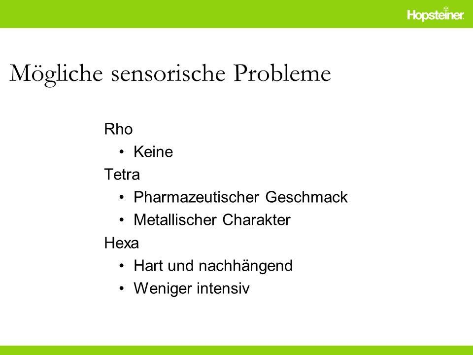 Mögliche sensorische Probleme Rho Keine Tetra Pharmazeutischer Geschmack Metallischer Charakter Hexa Hart und nachhängend Weniger intensiv