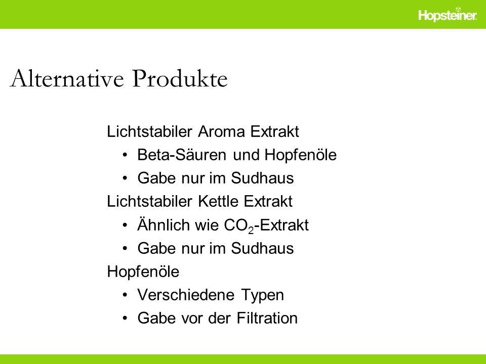 Alternative Produkte Lichtstabiler Aroma Extrakt Beta-Säuren und Hopfenöle Gabe nur im Sudhaus Lichtstabiler Kettle Extrakt Ähnlich wie CO 2 -Extrakt