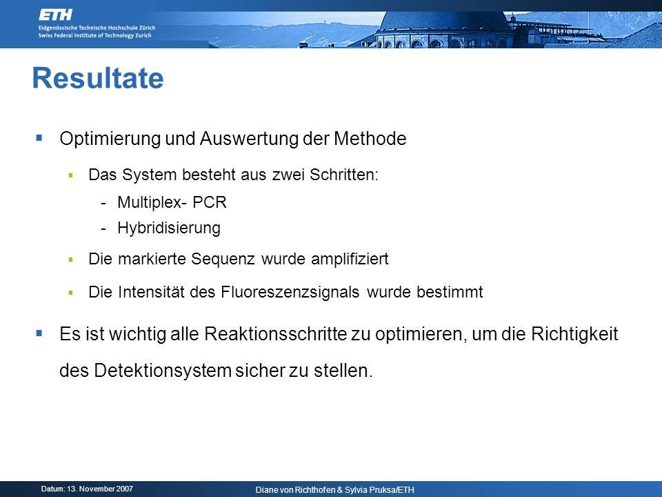 Datum: 13. November 2007 Diane von Richthofen & Sylvia Pruksa/ETH Resultate Optimierung und Auswertung der Methode Das System besteht aus zwei Schritt
