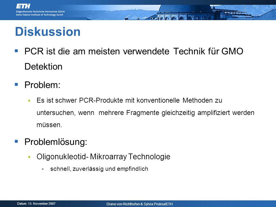 Datum: 13. November 2007 Diane von Richthofen & Sylvia Pruksa/ETH Diskussion PCR ist die am meisten verwendete Technik für GMO Detektion Problem: Es i