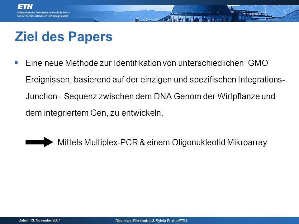 Datum: 13. November 2007 Diane von Richthofen & Sylvia Pruksa/ETH Ziel des Papers Eine neue Methode zur Identifikation von unterschiedlichen GMO Ereig