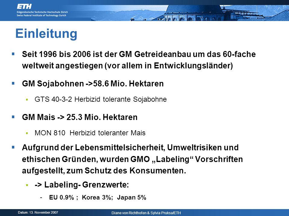 Datum: 13. November 2007 Diane von Richthofen & Sylvia Pruksa/ETH Einleitung Seit 1996 bis 2006 ist der GM Getreideanbau um das 60-fache weltweit ange