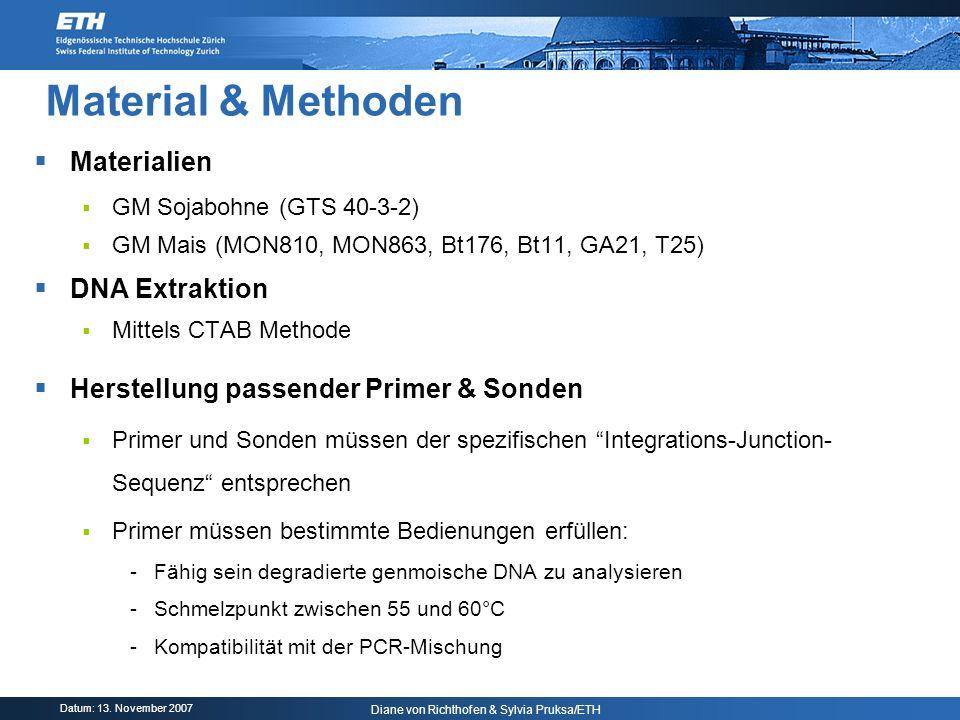Datum: 13. November 2007 Diane von Richthofen & Sylvia Pruksa/ETH Material & Methoden Materialien GM Sojabohne (GTS 40-3-2) GM Mais (MON810, MON863, B