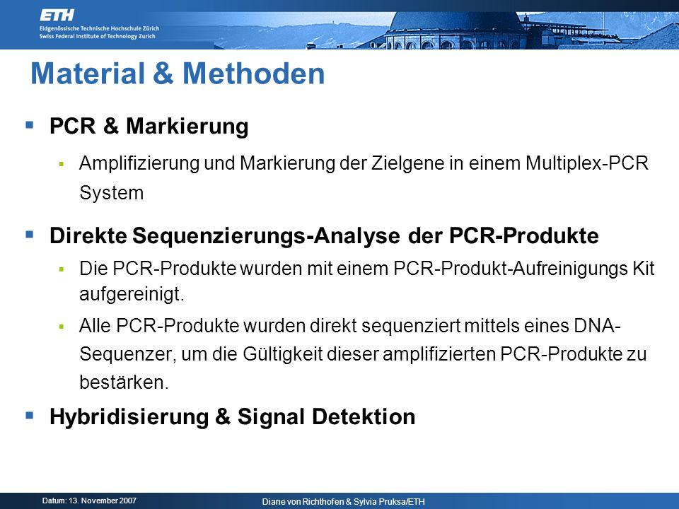 Datum: 13. November 2007 Diane von Richthofen & Sylvia Pruksa/ETH Material & Methoden PCR & Markierung Amplifizierung und Markierung der Zielgene in e