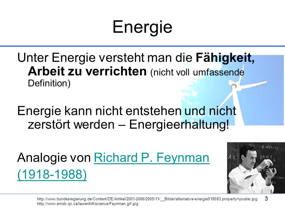 3 Energie Unter Energie versteht man die Fähigkeit, Arbeit zu verrichten (nicht voll umfassende Definition) Energie kann nicht entstehen und nicht zer