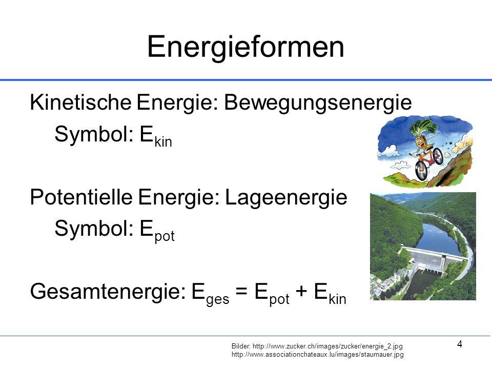 4 Energieformen Kinetische Energie: Bewegungsenergie Symbol: E kin Potentielle Energie: Lageenergie Symbol: E pot Gesamtenergie: E ges = E pot + E kin