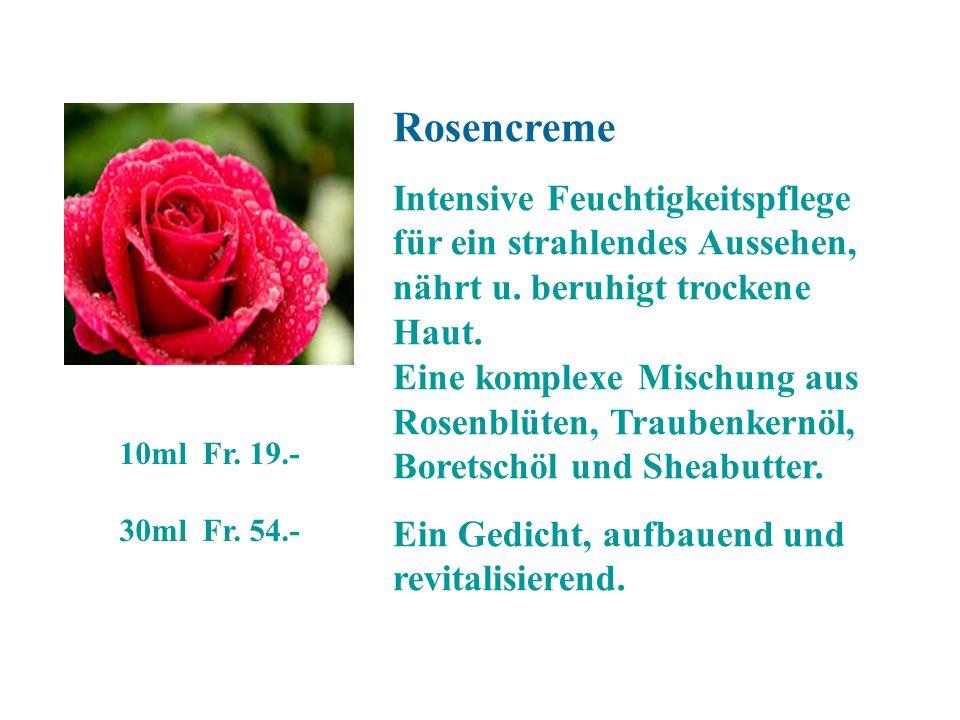 Rosencreme Intensive Feuchtigkeitspflege für ein strahlendes Aussehen, nährt u. beruhigt trockene Haut. Eine komplexe Mischung aus Rosenblüten, Traube
