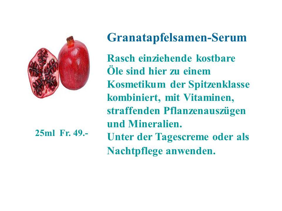 Granatapfelsamen-Serum Rasch einziehende kostbare Öle sind hier zu einem Kosmetikum der Spitzenklasse kombiniert, mit Vitaminen, straffenden Pflanzena
