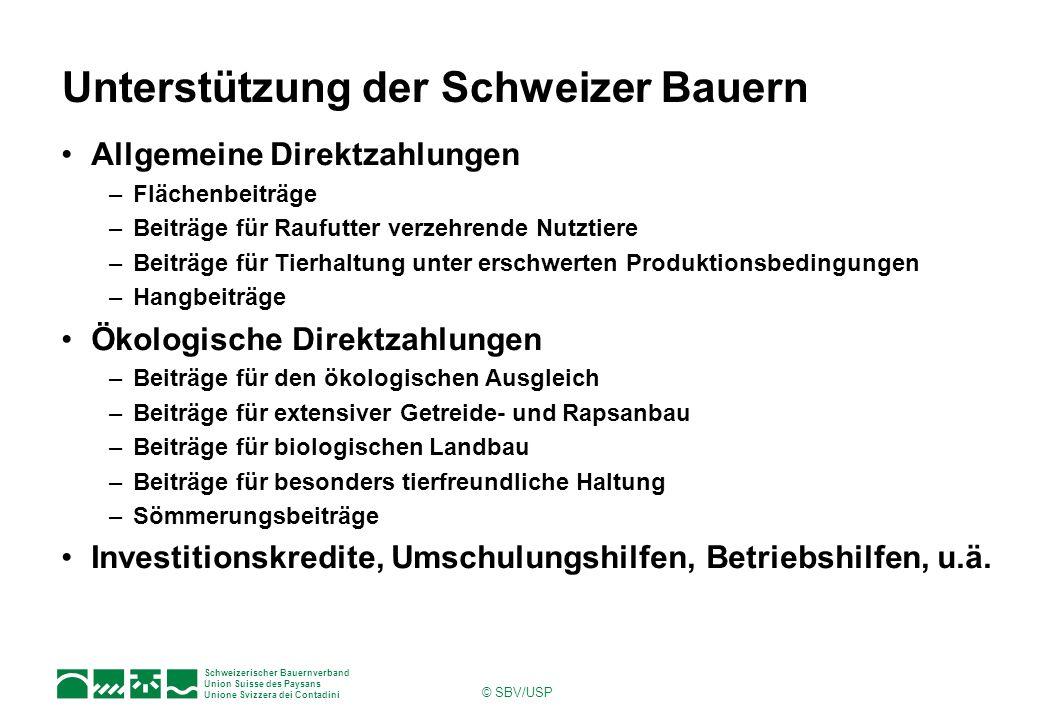 Schweizerischer Bauernverband Union Suisse des Paysans Unione Svizzera dei Contadini © SBV/USP Unterstützung der Schweizer Bauern Allgemeine Direktzah