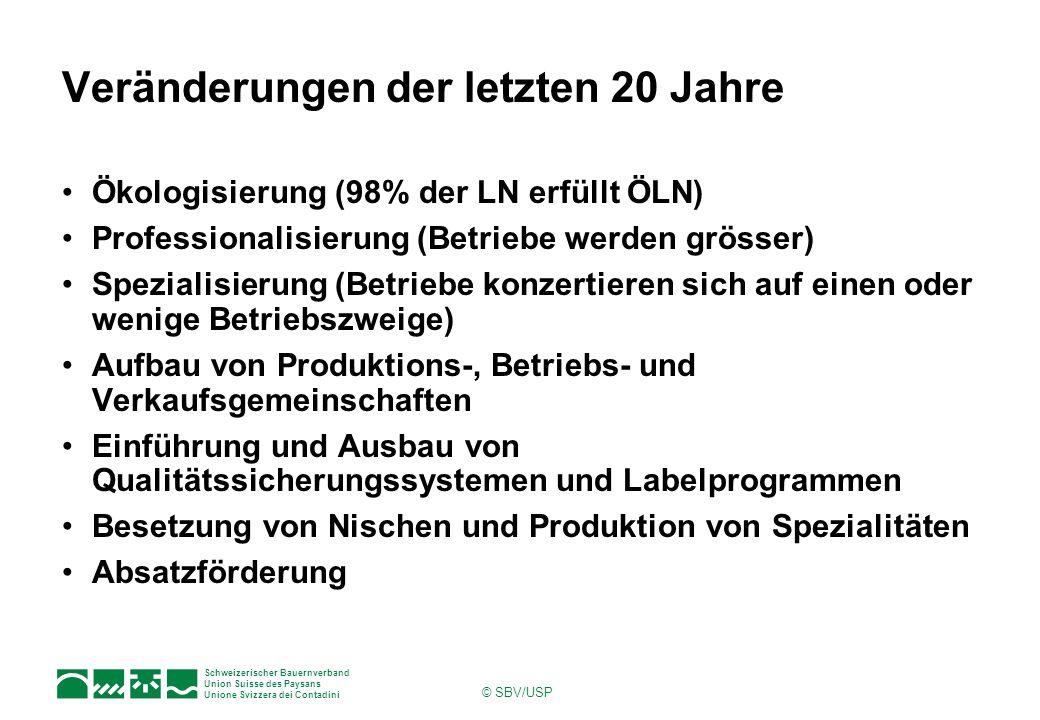Schweizerischer Bauernverband Union Suisse des Paysans Unione Svizzera dei Contadini © SBV/USP Veränderungen der letzten 20 Jahre Ökologisierung (98%