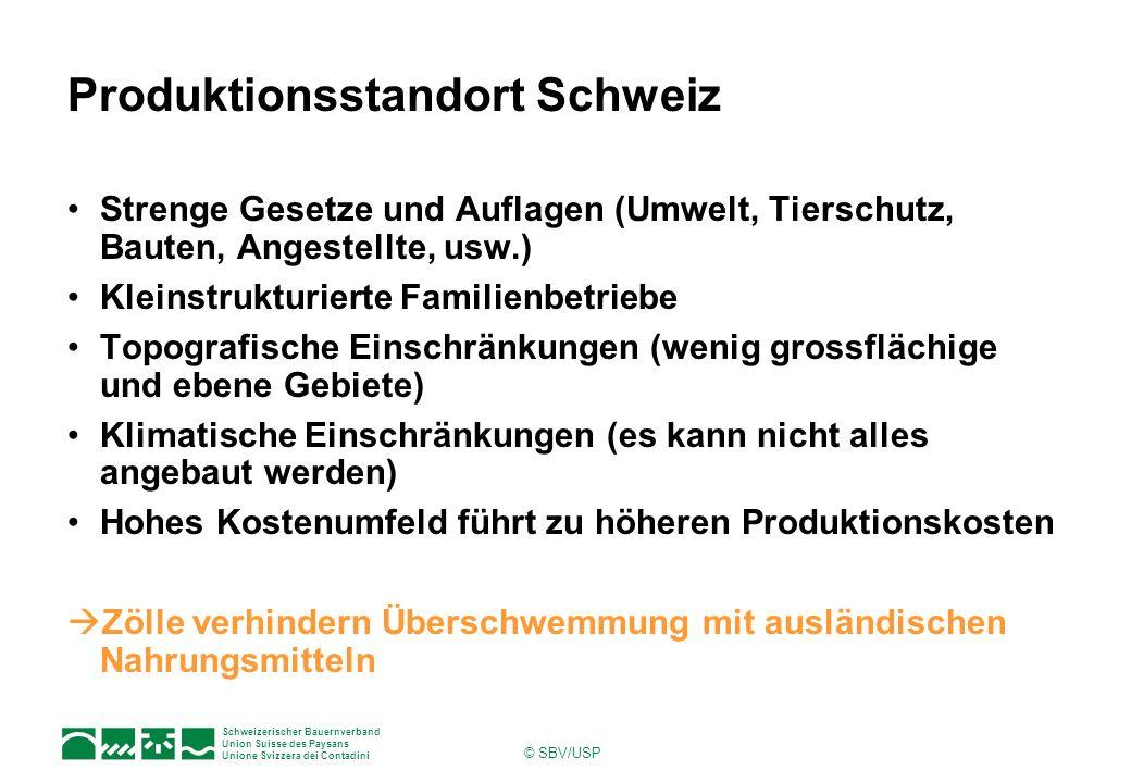 Schweizerischer Bauernverband Union Suisse des Paysans Unione Svizzera dei Contadini © SBV/USP Produktionsstandort Schweiz Strenge Gesetze und Auflage