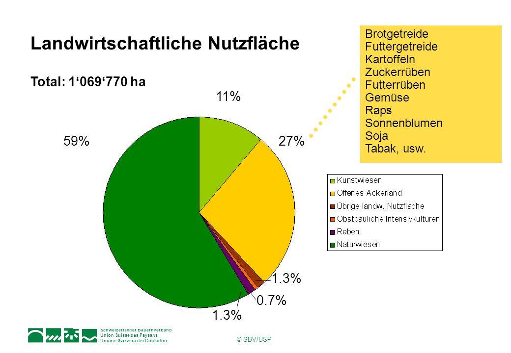 Schweizerischer Bauernverband Union Suisse des Paysans Unione Svizzera dei Contadini © SBV/USP Landwirtschaftliche Nutzfläche 27% 11% 59% 1.3% 0.7% Total: 1069770 ha Brotgetreide Futtergetreide Kartoffeln Zuckerrüben Futterrüben Gemüse Raps Sonnenblumen Soja Tabak, usw.